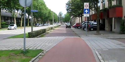 Before: cycle path ends in shared service street