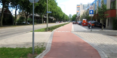 After: cycle path continues as bicycle street where cyclists have priority and cars are guests