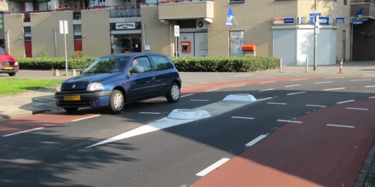 The remaining car lanes are narrower than the cycle lanes