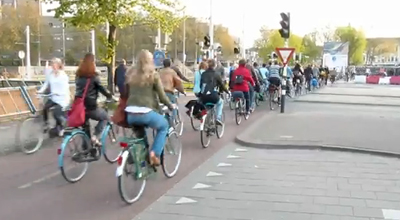 The Utrecht morning bicycle rush hour in 2010