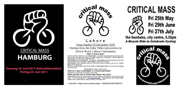Critical Mass posters 2007-2011 various places