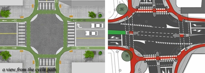 Right: Dutch design of an actual junction with cycle paths in red. Left: the same ideas used on an American road to see if it could be done.