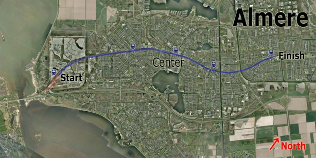"""""""Spoorbaanpad"""" a cycle path right through Almere, the blue part is shown in the second video Link to map"""