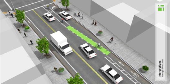NACTO bike lane / turn lane design