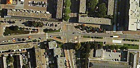 This is still a cross-roads junction in Google Earth...