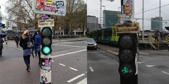 Barbie dolls on Utrecht cycle traffic lights