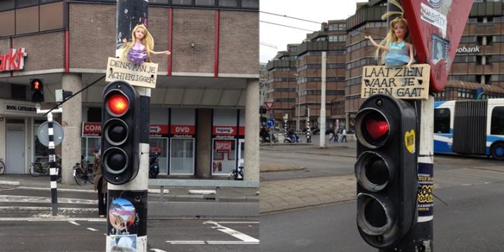 Barbie dolls on Utrecht cycle traffic lights