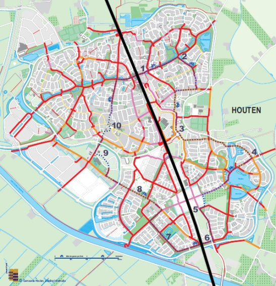 The North-South railway line (black) cuts Houten in half.