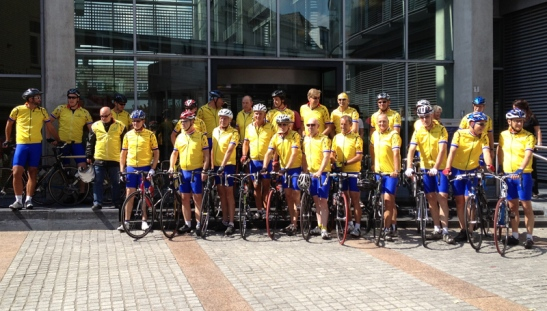 Cyclists ready to depart