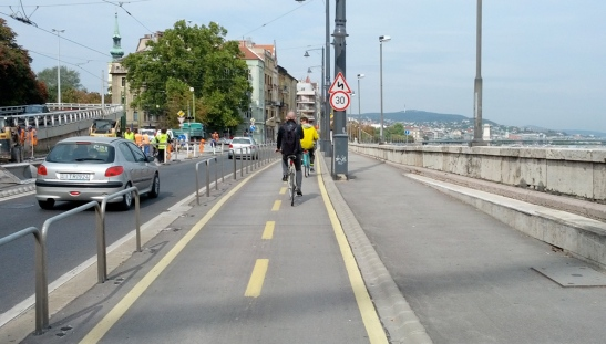 Cycle path along the Danube in Budapest