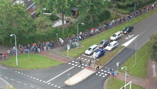Bicycle traffic jam Wageningen