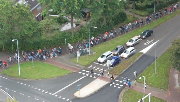 Bicycle traffic jam Wageningen