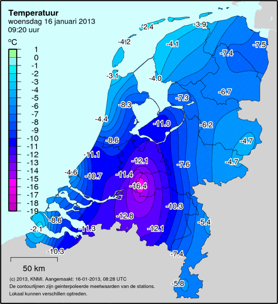 Cold morning. 's-hertogenbosch is situated just below the coldest