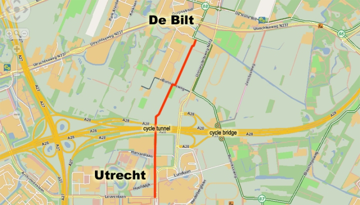 Map Utrecht - De Bilt area