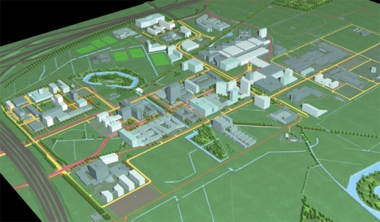 This rendering from 2008 shows the new plans to bring cohesion in the area with newly defined clusters that each have their own purpose. (Picture Utrecht University)
