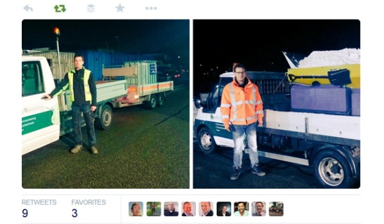 The operators of the salt spreading vehicle went out in the middle of the night.