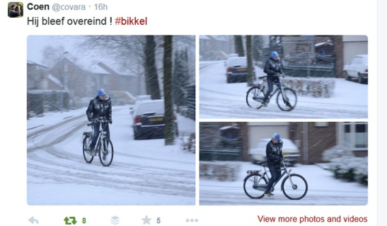 Waking up to a winter world on Saturday last. But this guy kept on cycling