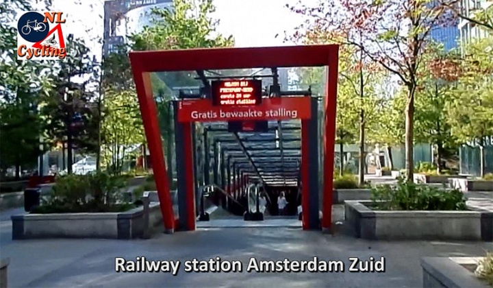 The entrance to the bicycle parking facility at Amsterdam-Zuid railway station.