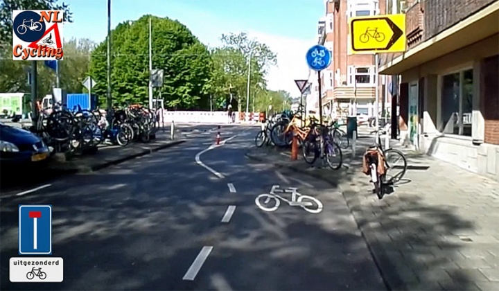 A short cut for cycling. The sign at the bottom left was at the beginning of the street. It means