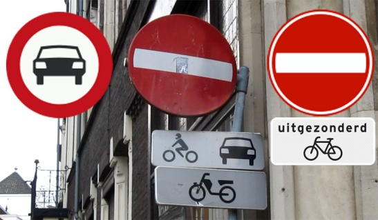 Three ways to indicate the fact that a street is one-way for motor traffic and two-ways for cycling on the end that is closed for motor traffic. Left: Amsterdam, Centre: Maastricht, Right: most the more standard way. Apparently Amsterdam and Maastricht needed a way to say this without words, because they have a lot of road users that do not speak Dutch.