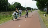 Schoolchildren cycling on the Greenport Bikeway.