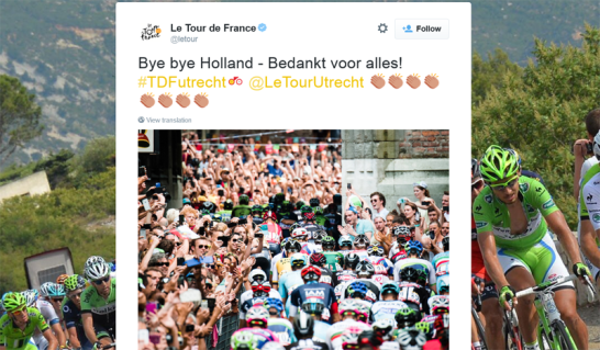 A Thank You in Dutch from the official Tour de France twitter account.
