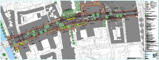 The plan for the new design of this street.