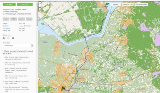 The route from Zeewolde to Amersfoort is indeed 30 kilometres!