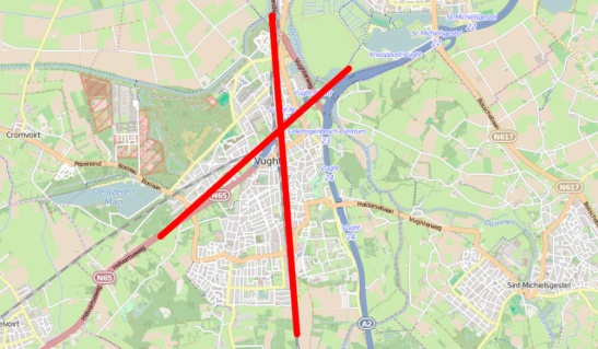 The railway lines and roads cut right through the municipality of Vught dividing it in different parts.