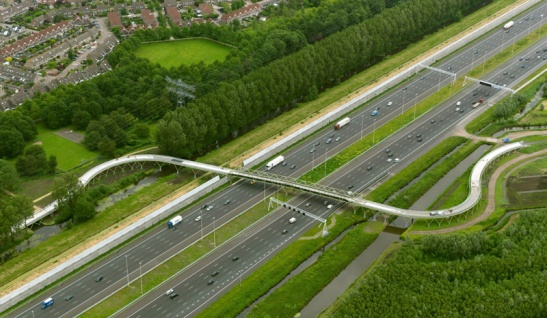 The aerial picture shows just how wide the A2 motorway has become.