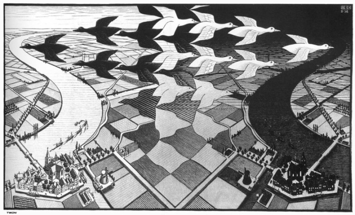 The inspiration for the bird pattern came from this drawing by the famous Dutch artist Escher. The birds merge with the landscape.