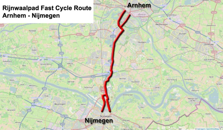 Map of the cycle route. The route forks at either end, giving two alternatives to reach both the cities. There are both two bridges over the Rhine and also over the Waal.