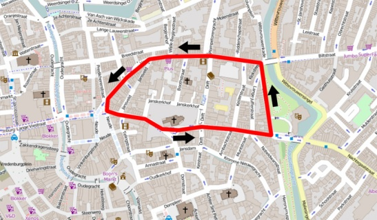 These Utrecht city centre streets worked as a giant gyratory. The were all dual-lane one-way streets and you could only use them in the direction of the arrow. This was the situation for the second half of the 20th century. Nowadays the most southern street is a bidirectional bus route and the south-east corner of this gyratory was blocked. That was also the exact location from where I filmed. (Map Openstreetsmap, overlay by yours truly).