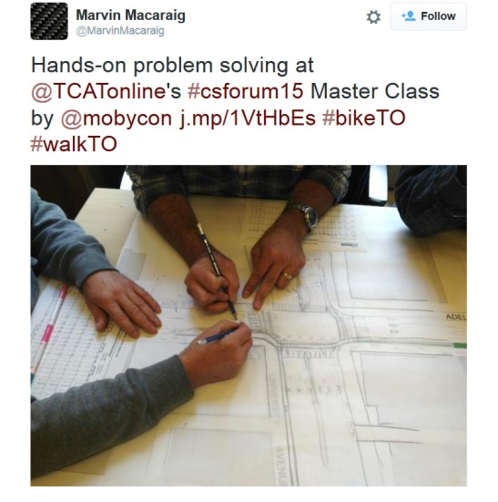 In the Toronto master class engineers tried out designing a protected intersection.