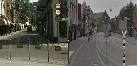 Lange Jansstraat as seen from Neude square. The right hand side of the street was completely removed to widen the street. The left picture shows a no-entry sign for cycling. Nowadays the street has only very limited access to motor traffic. It is mainly a bus street with separate cycletracks on either side. (pictures Utrechts Archief and Google StreetView)