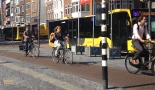 People walking and cycling and buses dominate the Utrecht city centre. A good combination when there is no private motor traffic.