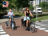 Vulnerable road users on a roundabout with priority for walking and cycling in Zwolle.