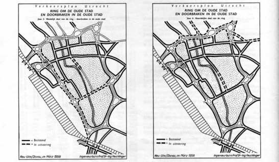 Had the original plans from the German engineer Feuchtinger from 1958 been built the historic city centre of Utrecht would have been totally destroyed.