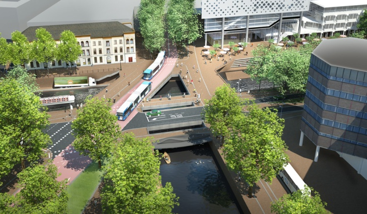Rendering of the five bridges over the new water near Vredenburg Utrecht. These bridges are refered to as the Vredenburgknoop (Vredenburg knot)