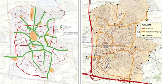 Left the cycle routes and right the motor traffic routes in Goes. Two completely different networks.