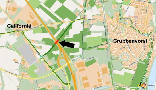A map to show the location of the bridge. Map from the Cyclists's Union's Routeplanner.