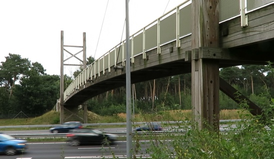 Clearly visible is that all the main parts of the bridge are made from azobe timber.