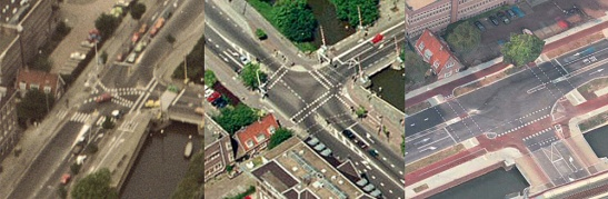 The same T-junction in 1980, 1998 and 2015. The 1980 version had diagonal cycle crossings. This had been changed by 1998. In the 2015 version you see the cycleways now have a red asphalt surface, but the design didn't change anymore.
