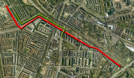The videos below show two rides in the reconstructed streets. One riding west (red line) and one riding east (green line)