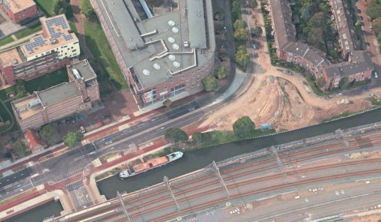At the bottom right there used to be a fuel station. But that has been removed. A bus road to directly to Utrecht's Central Station will start here from the summer of 2016.
