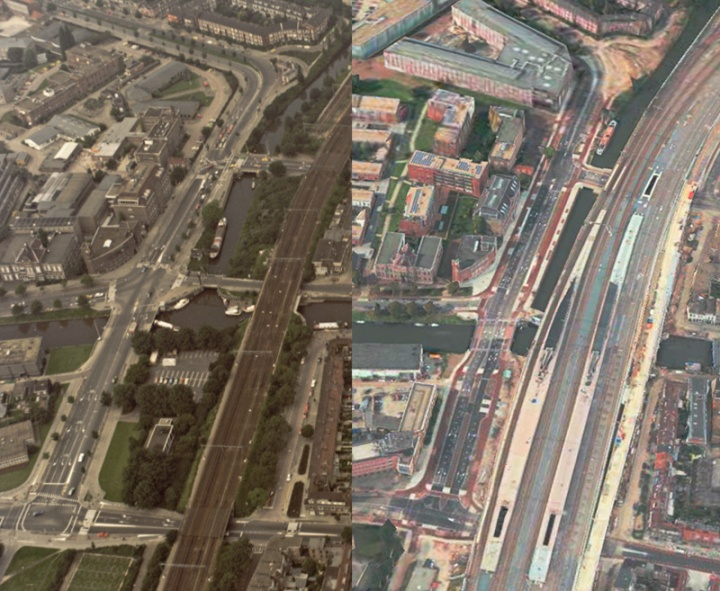 Comparing the 1990s road design and the current layout of the street. The design has become more coherent. You can also see how much wider the railroad became.
