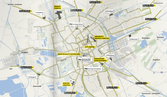 The cycling network of Groningen.