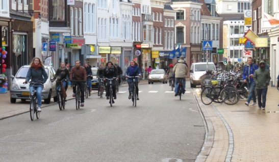 Cycling in Groningen is all too often shared with motor traffic.