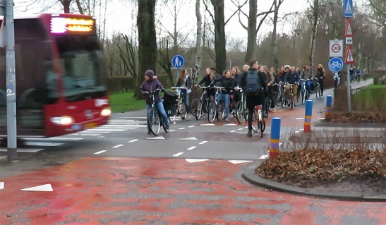 The crossing of the route to the university area Zernike with Eikenlaan. A crossing that was obviously not designed to handle the 17,000 people passing here on their bicycle every day.