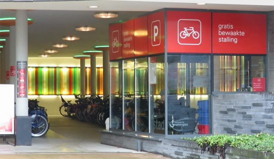 The beautiful new underground bicycle parking facility at the Europapark Railway Station.